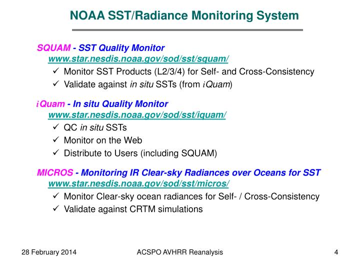 NOAA SST/Radiance Monitoring System