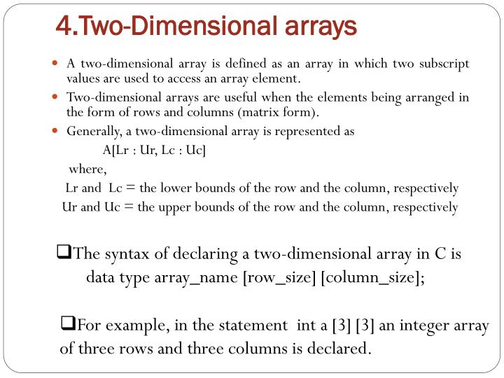 4.Two-Dimensional arrays