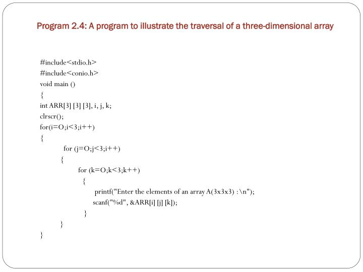 Program 2.4: A program to illustrate the traversal of a