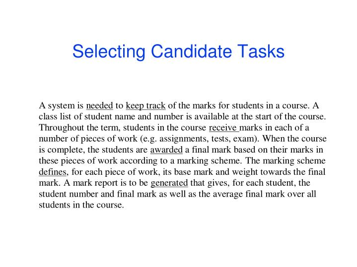 Selecting candidate tasks