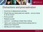 distractions and procrastination
