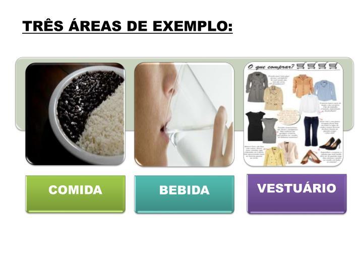 TRÊS ÁREAS DE EXEMPLO: