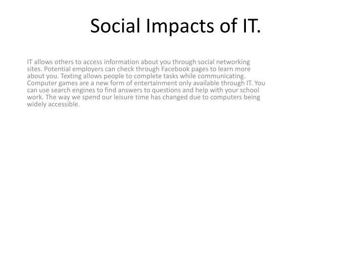 Social impacts of it