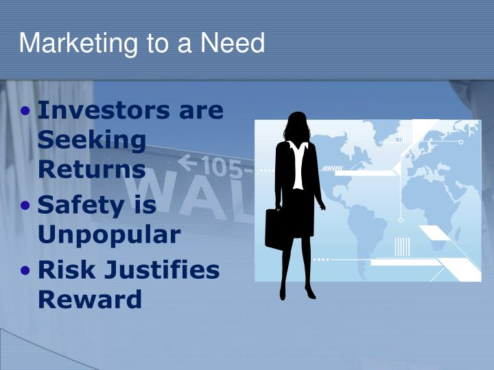 Marketing to a Need
