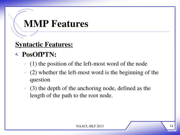MMP Features