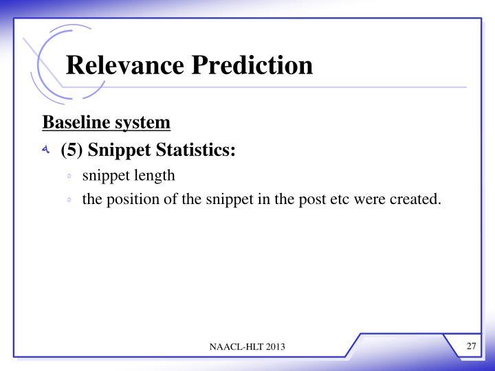 Relevance Prediction
