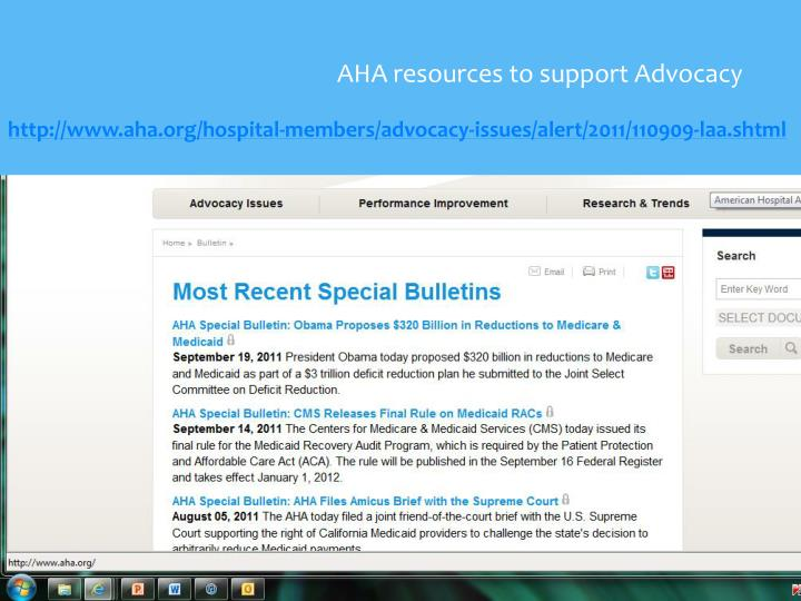 AHA resources to support Advocacy