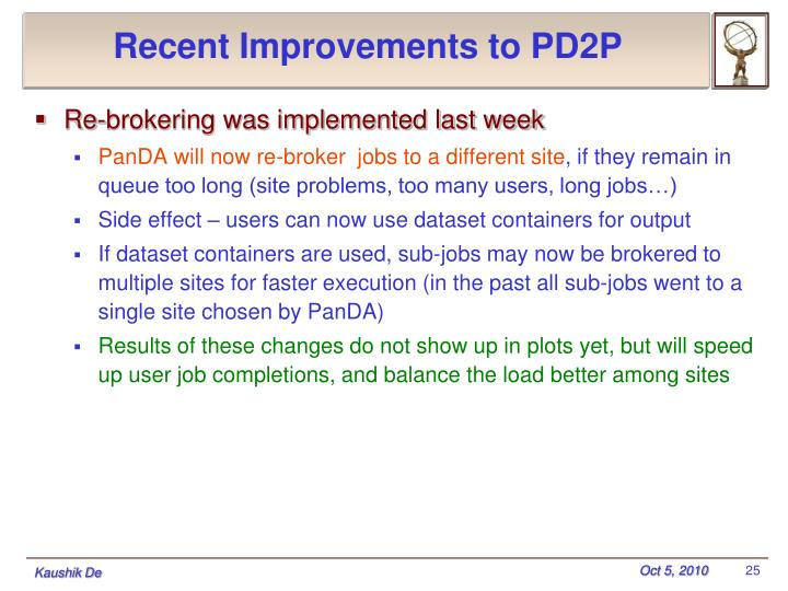 Recent Improvements to PD2P