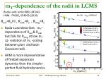 m t dependence of the radii in lcms