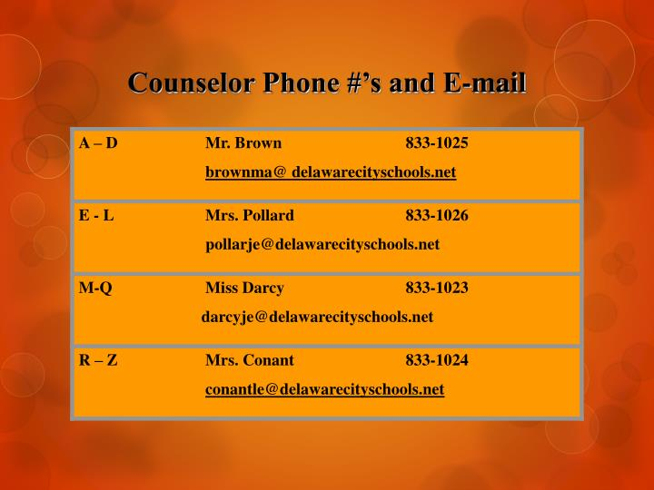 Counselor phone s and e mail