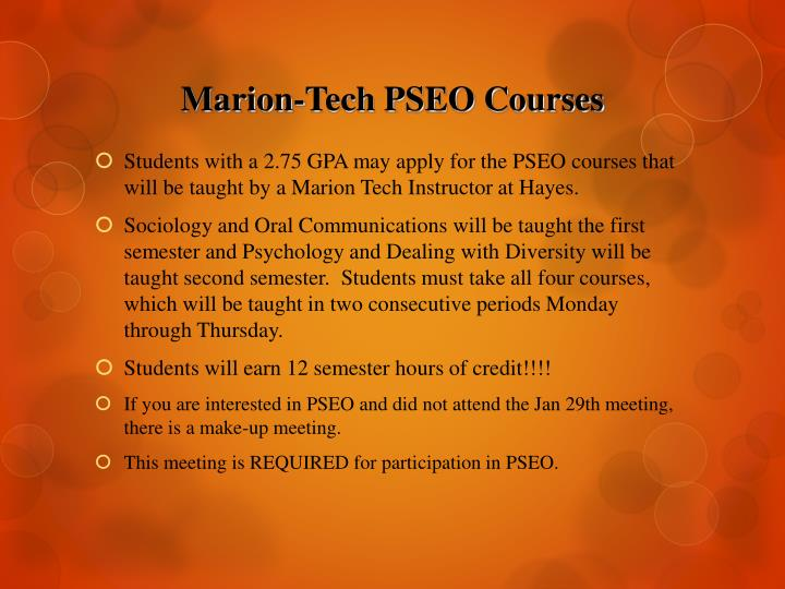 Marion-Tech PSEO Courses