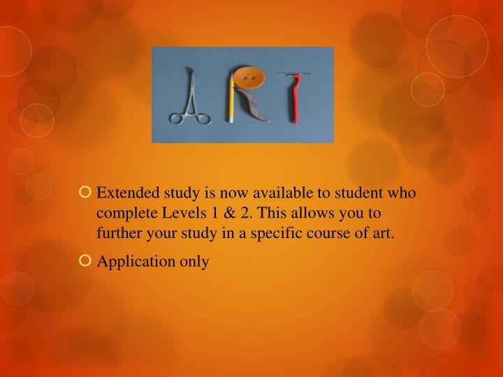 Extended study is now available to student who complete Levels 1 & 2. This allows you to further your study in a specific course of art.