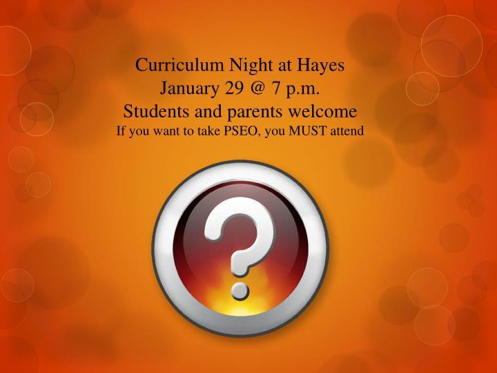 Curriculum Night at Hayes