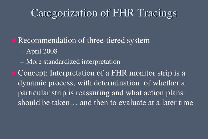 Categorization of FHR Tracings