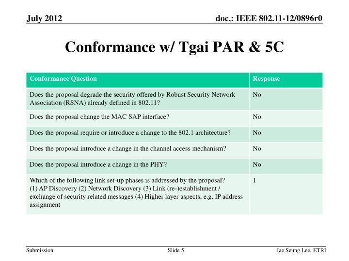 Conformance w/ Tgai PAR & 5C