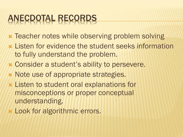 Teacher notes while observing problem solving