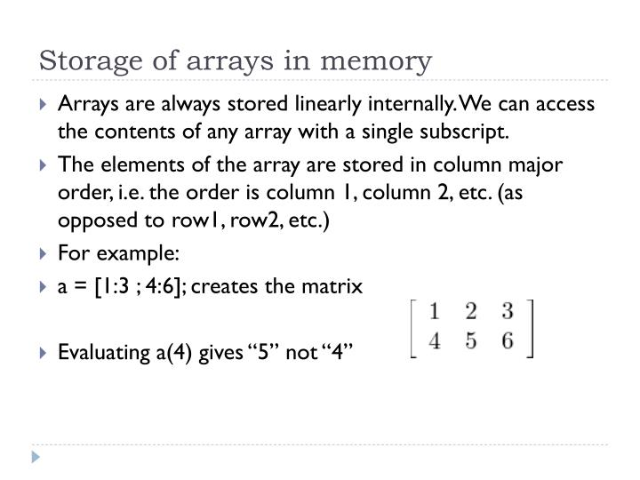 Storage of arrays in memory