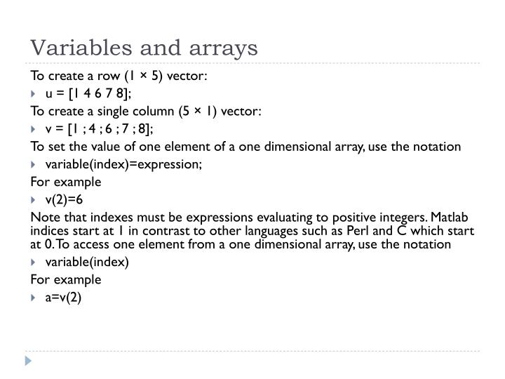 Variables and arrays