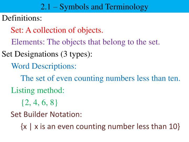 2 1 symbols and terminology