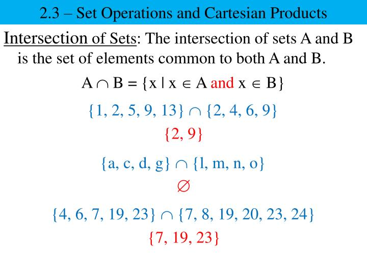 2.3 – Set Operations and Cartesian Products