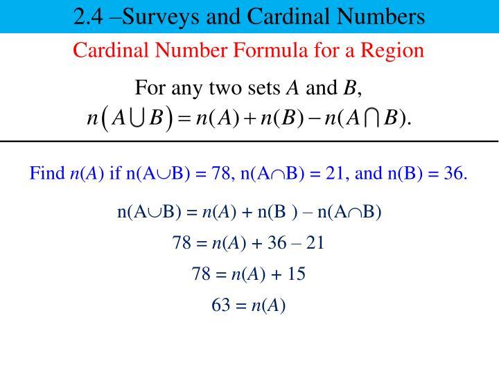 2.4 –Surveys and Cardinal Numbers