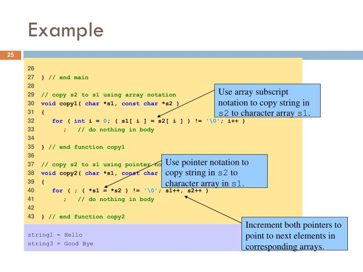 Use array subscript notation to copy string in