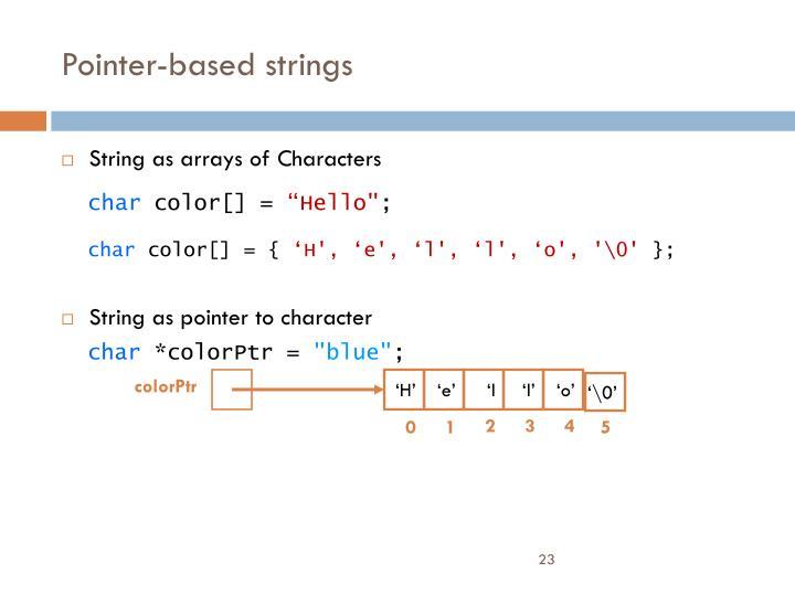 Pointer-based strings