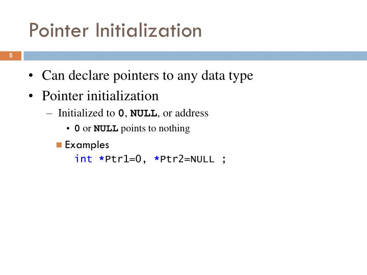 Pointer Initialization