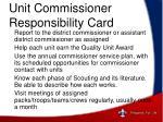 unit commissioner responsibility card