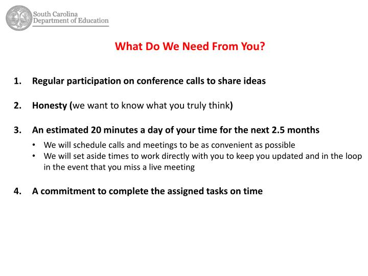 Regular participation on conference calls to share ideas