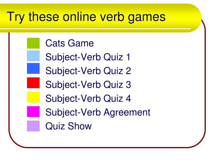 Try these online verb games