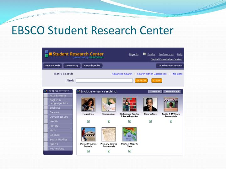 EBSCO Student Research Center