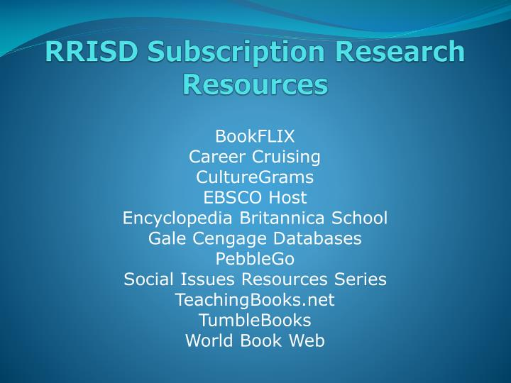 Rrisd subscription research resources
