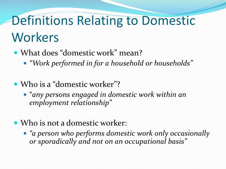 Definitions Relating to Domestic Workers