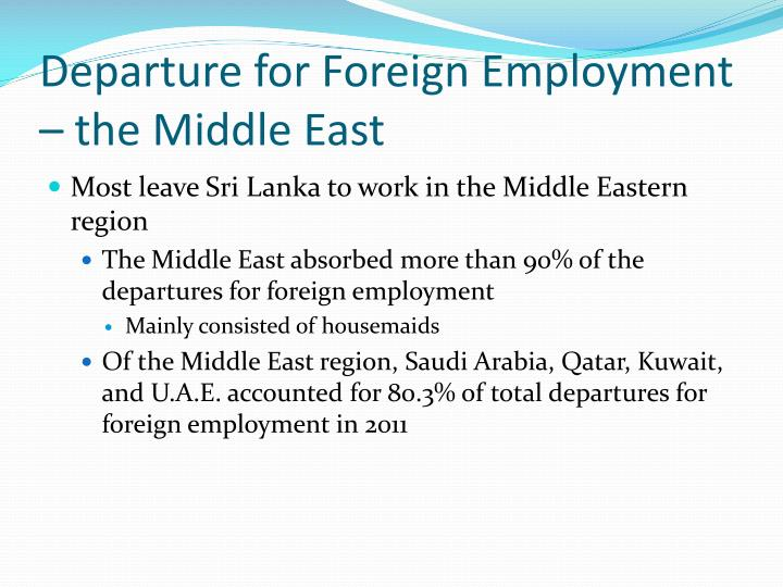 Departure for Foreign Employment – the Middle East
