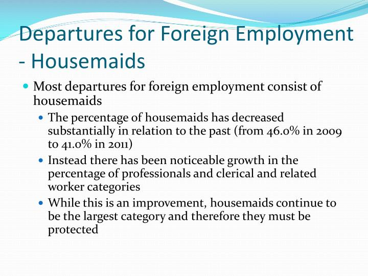Departures for Foreign Employment - Housemaids
