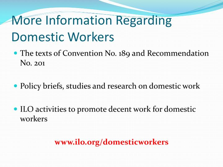 More Information Regarding Domestic Workers