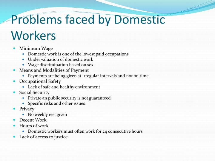 Problems faced by Domestic Workers