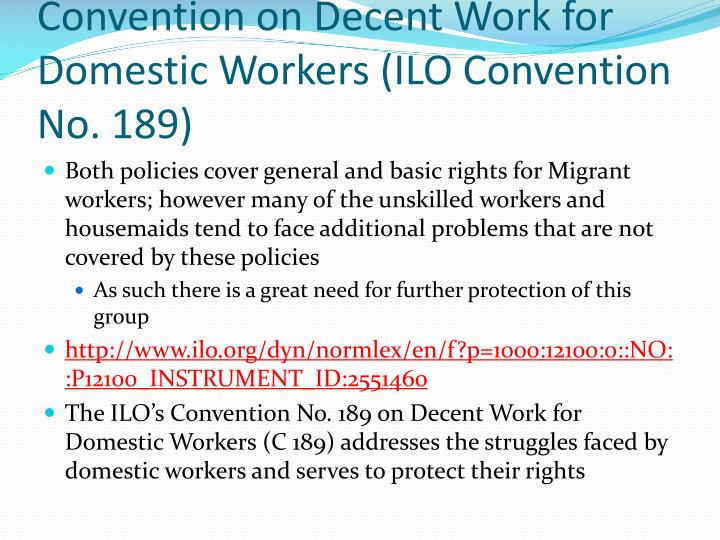 Why we need to ratify C.189 of the Convention on Decent Work for Domestic Workers (ILO Convention No. 189)