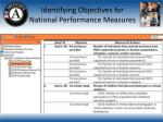 identifying objectives for national performance measures