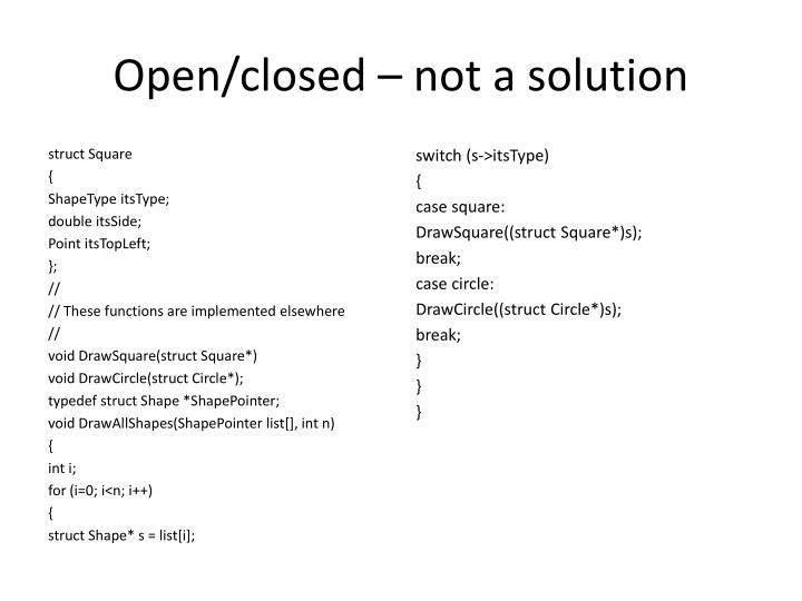 Open/closed – not a solution