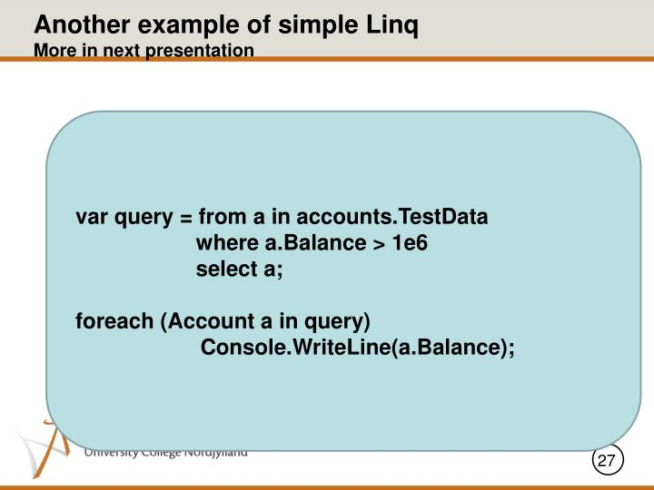 Another example of simple Linq