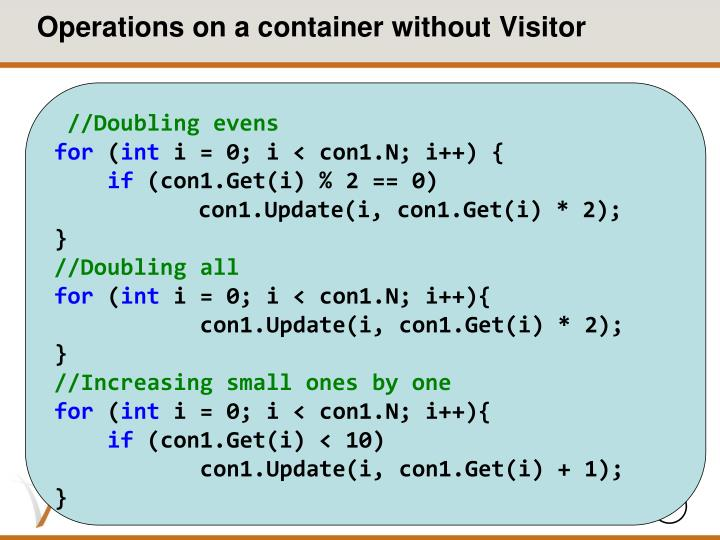 Operations on a container without visitor