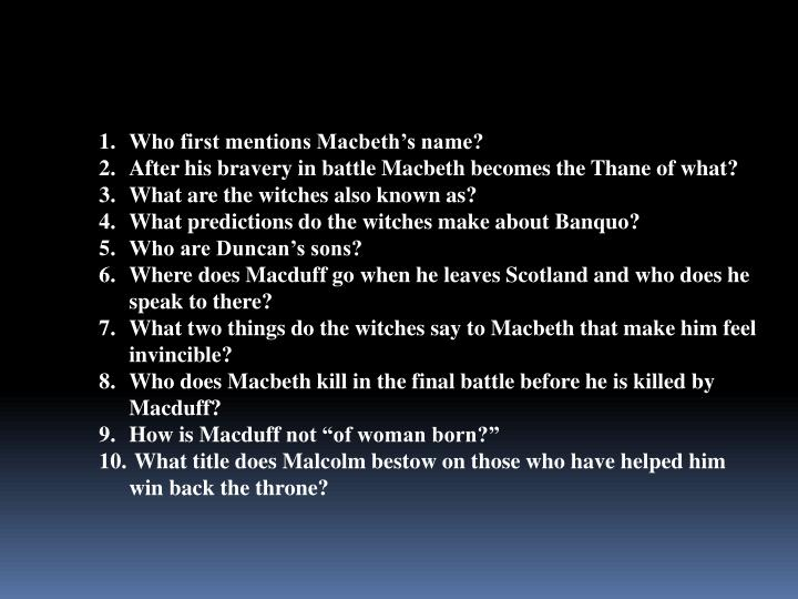 Who first mentions Macbeth's name?
