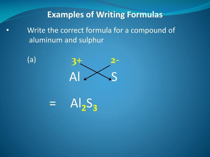 Examples of Writing Formulas