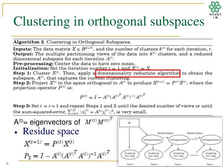 Clustering in orthogonal