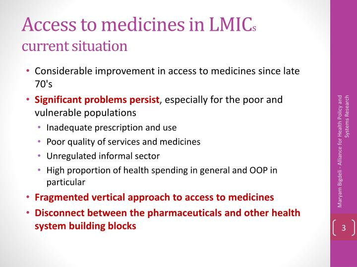 Access to medicines in lmic s current situation