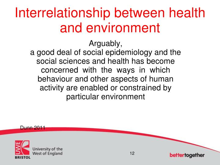 Interrelationship between health and environment