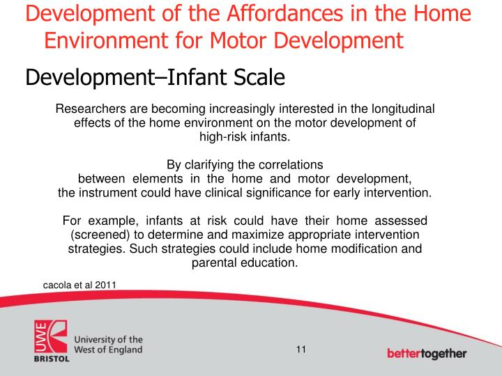 Development of the Affordances in the Home Environment for Motor Development