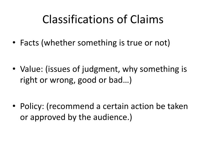 Classifications of Claims